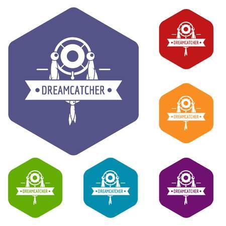 Dreamcatcher icons vector hexahedron