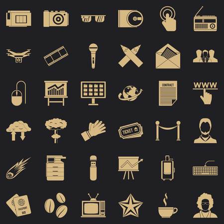 Typewriter icons set, simple style
