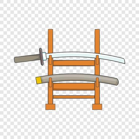 Katana on a wooden stand icon. Cartoon illustration of katana on a wooden stand vector icon for web  イラスト・ベクター素材