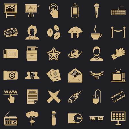 Broadcasting icons set, simple style