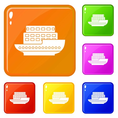Large passenger ship icons set collection vector 6 color isolated on white background Illustration