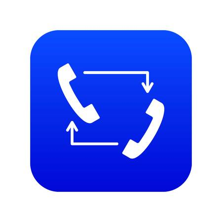 Handsets with arrows icon digital blue Illustration