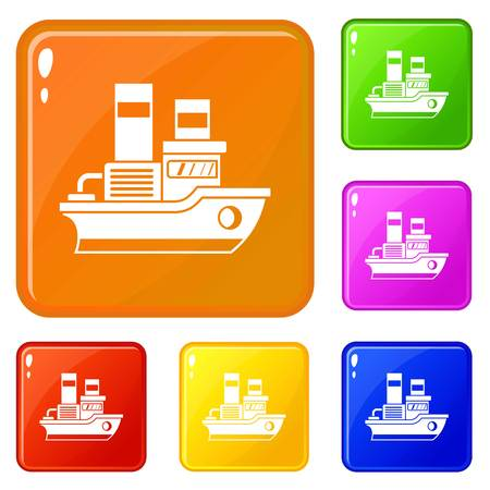 Small ship icons set vector color Illustration