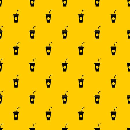 Paper cup with straw pattern seamless vector repeat geometric yellow for any design