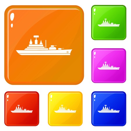 Warship icons set collection vector 6 color isolated on white background
