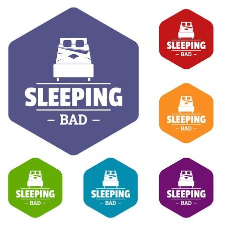 Sleeping bad icons vector hexahedron