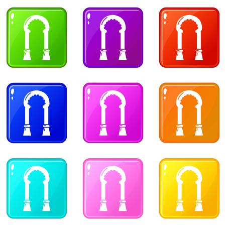 Archway decor icons set 9 color collection