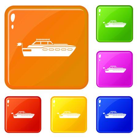 Big yacht icons set collection vector 6 color isolated on white background