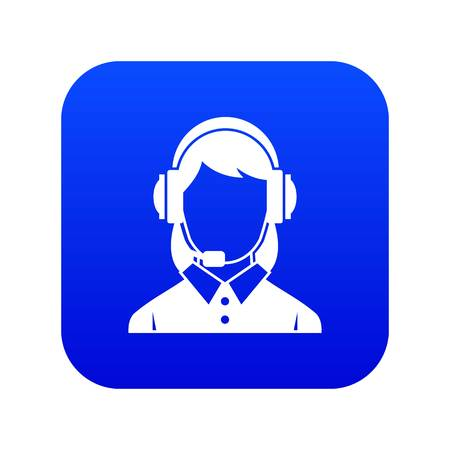 Business woman with headset icon digital blue