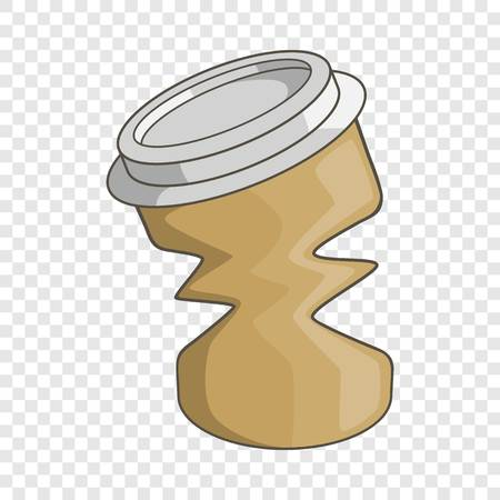 Disposable coffee paper cup icon, cartoon style