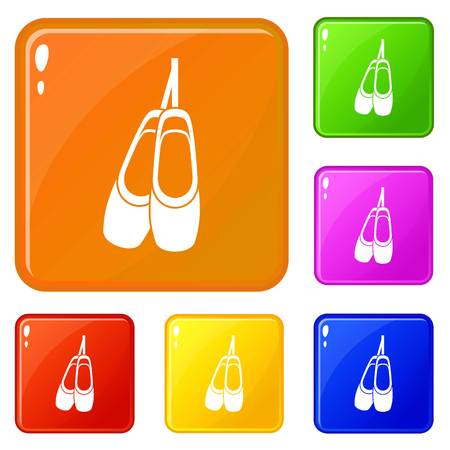Pointe shoes icons set collection vector 6 color isolated on white background Illustration
