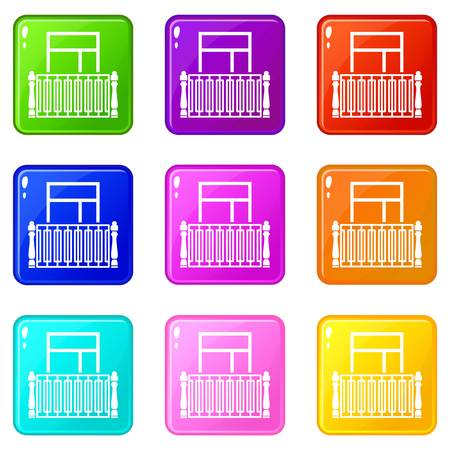 Square balcony icons set 9 color collection