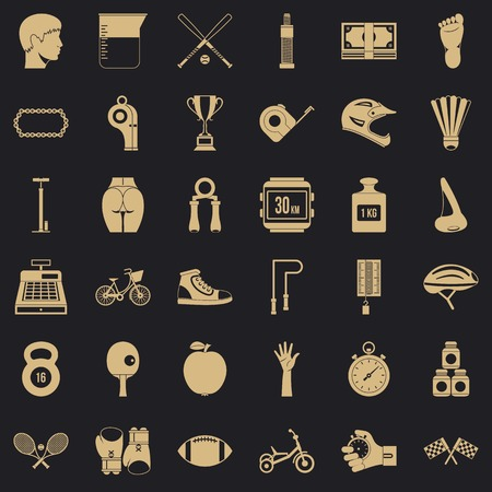 Bodybuilding icons set, simple style Illustration