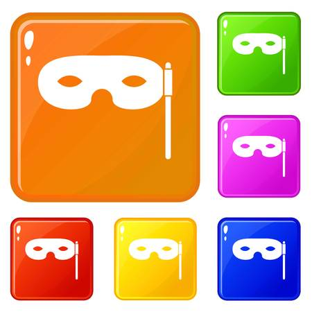 Carnival mask icons set vector color