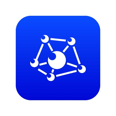 Molecule lab icon blue vector isolated on white background