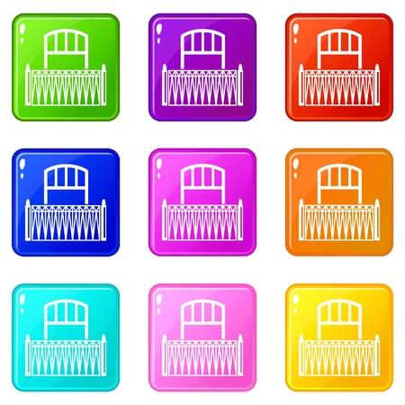 Lattice balcony icons set 9 color collection