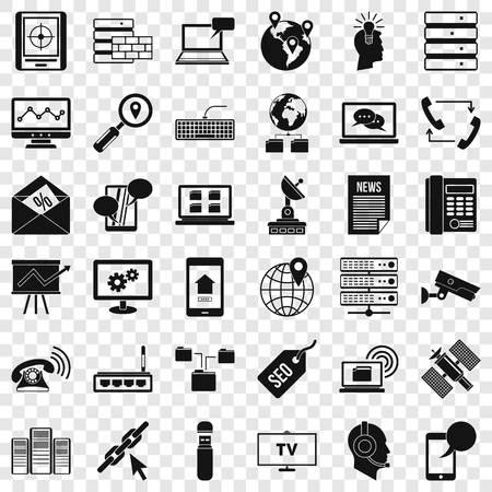 Communication icons set, simple style
