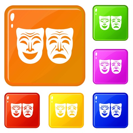 Happy and sad mask icons set vector color