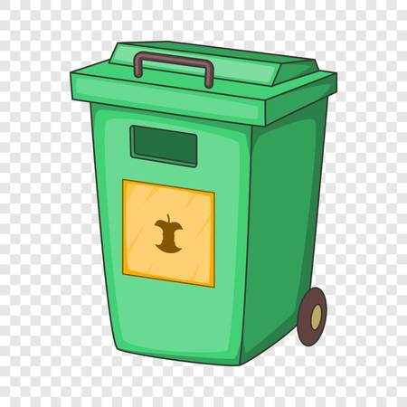 Green garbage container icon, cartoon style Illustration