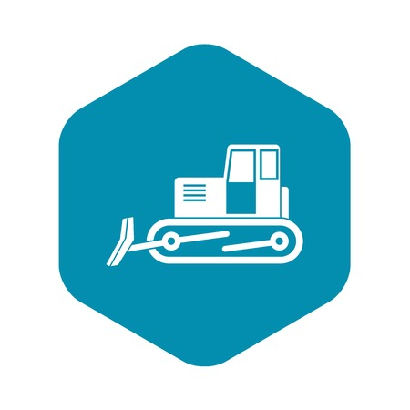 Bulldozer icon in simple style isolated vector illustration