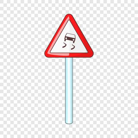 Slippery when wet road sign icon, cartoon style 스톡 콘텐츠 - 124248137