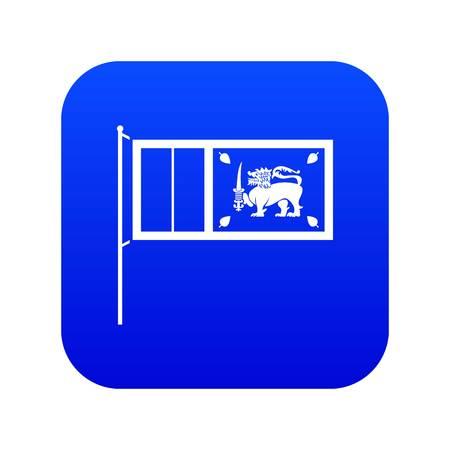 Flag of Sri Lanka icon digital blue for any design isolated on white vector illustration