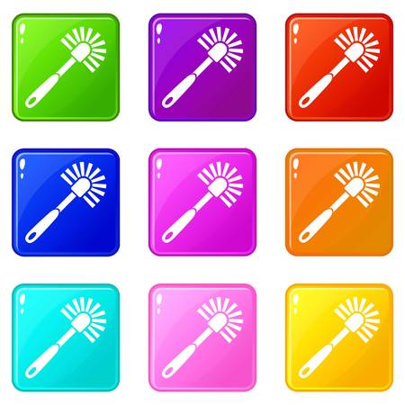 Toilet brush icons set 9 color collection Illusztráció