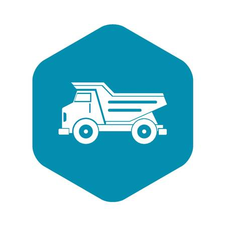 Dump truck icon in simple style isolated vector illustration