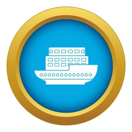 Large passenger ship icon blue vector isolated on white background for any design Illustration