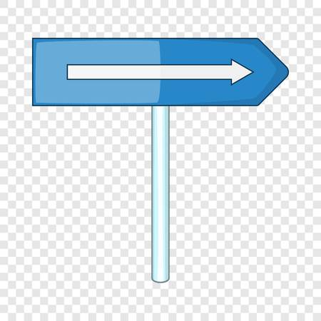 Blue road sign pointing right icon, cartoon style