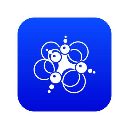 Molecule connection icon blue vector isolated on white background