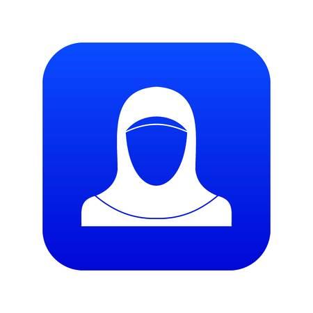 Muslim women wearing hijab icon digital blue