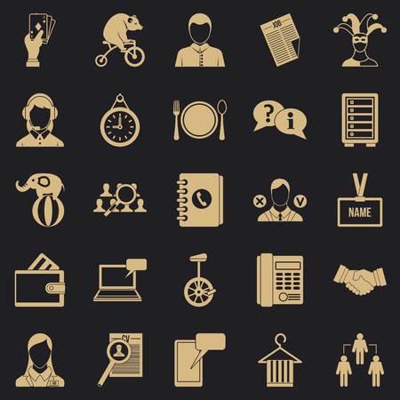 Business intelligence icons set, simple style Ilustrace