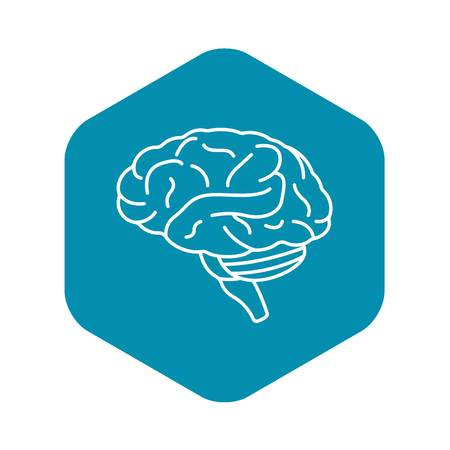 Human brain icon. Outline human brain vector icon for web design isolated on white background