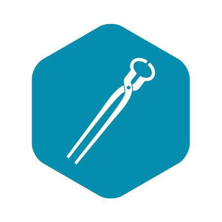 Vintage blacksmith pincers icon in simple style isolated vector illustration