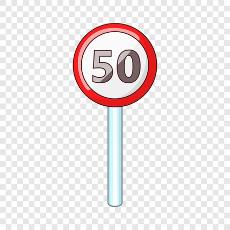 Speed limit fifty road sign icon, cartoon style