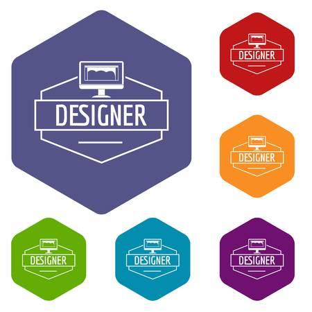 Designer icons vector hexahedron Illustration