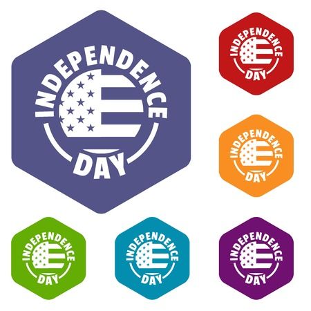 Independence day icons vector hexahedron