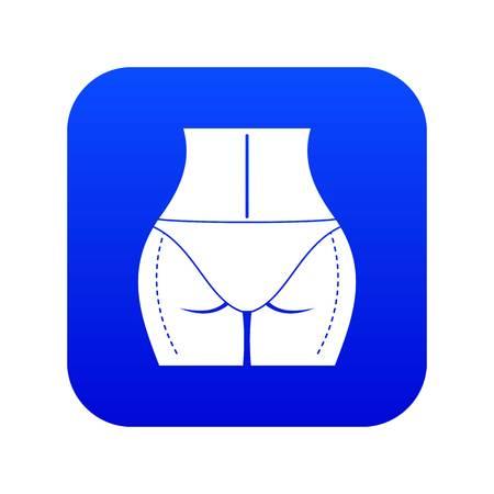 Woman buttocks prepared to plastic surgery icon digital blue