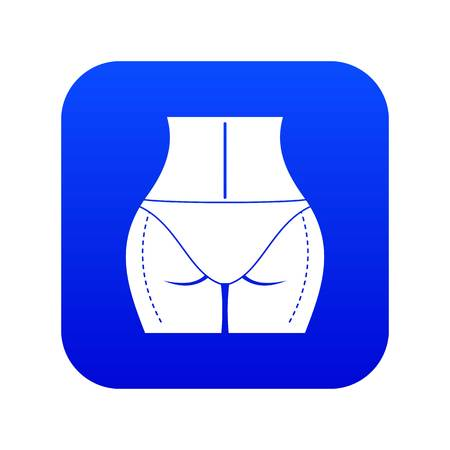 Woman buttocks prepared to plastic surgery icon digital blue
