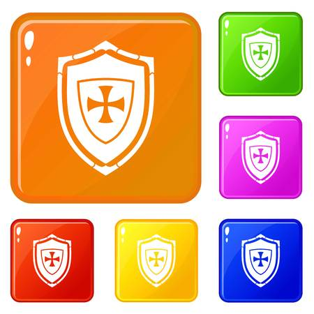 Shield with cross icons set vector color