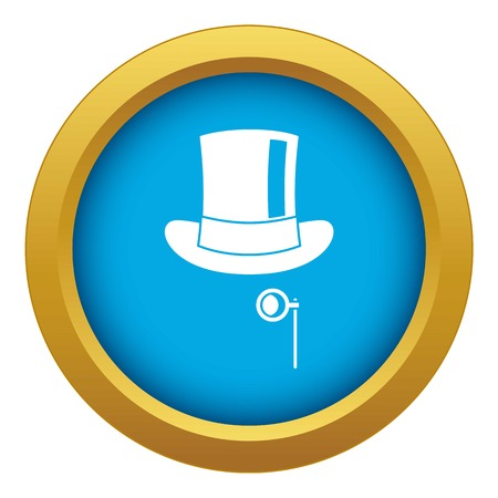 Hat with monocle icon blue vector isolated on white background for any design