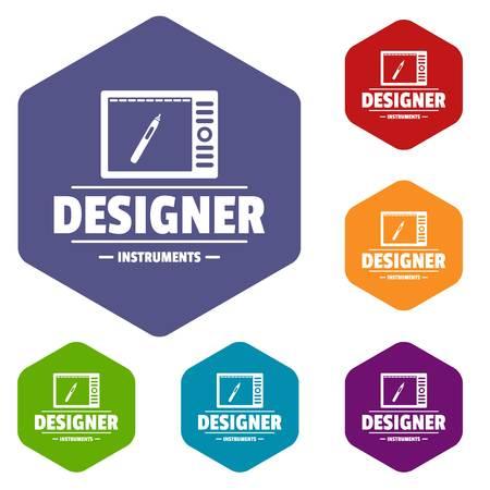 Designer shop icons vector hexahedron