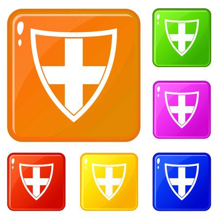 Shield for protection icons set vector color