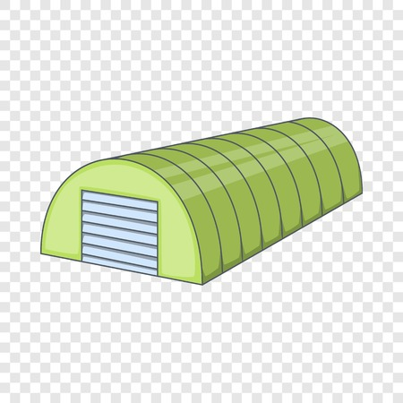 Green semicircular hangar icon. Cartoon illustration of green semicircular hangar vector icon for web Ilustração