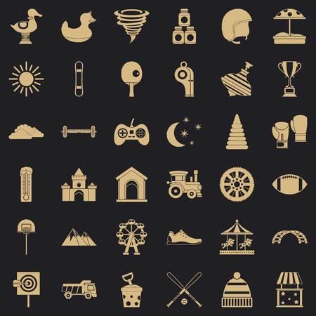 Preschool icons set, simple style Vetores