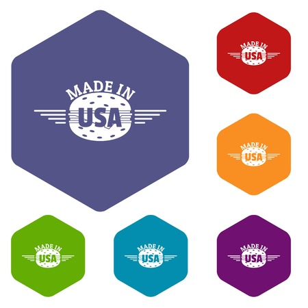 Made in USA icons vector hexahedron