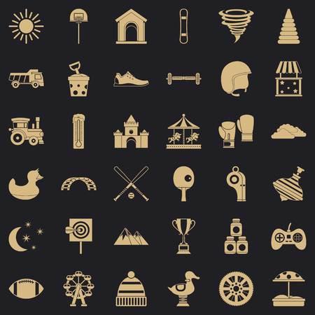 Playground icons set, simple style Vetores