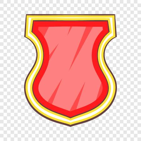 Red shield icon, cartoon style