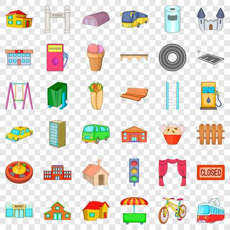 Architecture icons set, cartoon style Ilustrace
